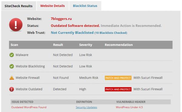 Сервис SUKURI осуществил проверку сайта на наличие вредоносного кода