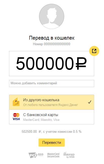 перевод в кошелек яндекс деньги