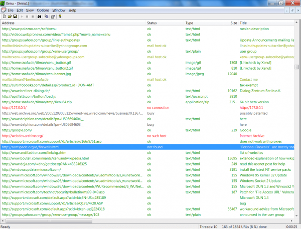 бтые ссылки найденные программой Xenu's Link Sleuth